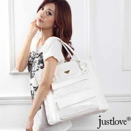 【justlove】獨家漆皮亮面多外袋韓版氣質時尚通勤休閒肩背手提托特大方包(白)PG-0318