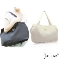 【justlove】加大環保帆布搭牛仔褲牛仔裙休閒上學購物旅行袋肩背手提馬鞍方包(白 PG-0320)