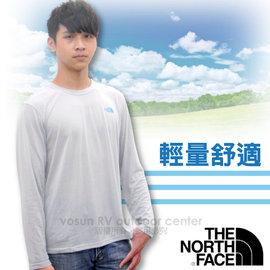 【美國 The North Face】男款 LOGO 快排長袖T-Shirt.長袖快排衣.運動T恤.休閒衫/舒適好穿.快乾纖維/ CNL8 灰白