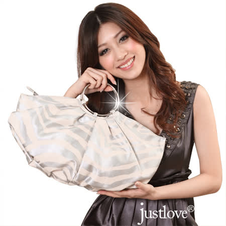【justlove】名牌風格斑馬紋圓金屬提把派對跑趴晚宴手提半月包(銀)PG-0336