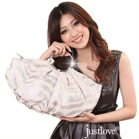 【justlove】名牌風俏麗時尚斑馬紋派對晚宴小包手提水餃半月包(銀 PG-0336)