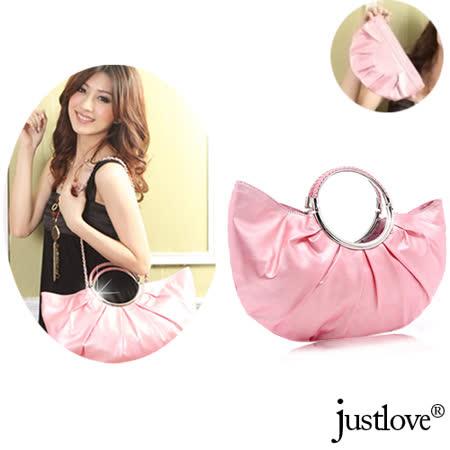 【justlove】名牌風經典時尚抓皺手提半月包鍊條肩背包贈化妝包(共3色)PG-0339