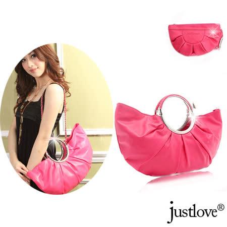 【justlove】名牌風贈化妝小包抓皺時尚經典手提側背肩背半月包(2色 PG-0339)