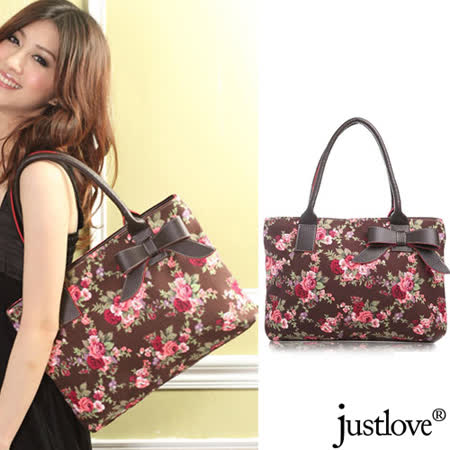 【justlove】獨家加厚帆布日系玫瑰花園甜美俏麗蝴蝶結肩背手提扁包方包(啡 PG-0369)