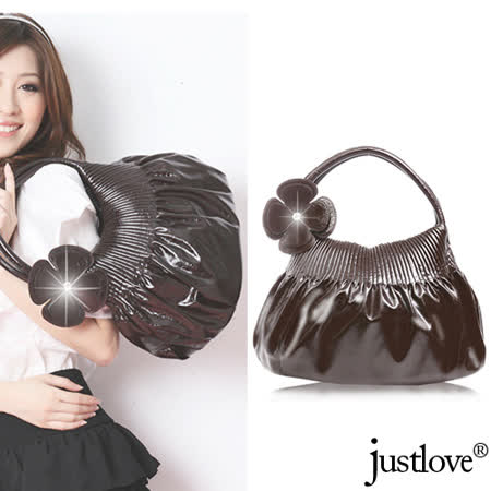 【justlove】日系幸運草開運抓皺時尚甜美亮面仿皮肩背手提貝殼包(共2色 BG-0375)
