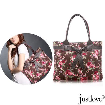 【justlove】加厚帆布日系玫瑰花園甜美俏麗蝴蝶結肩背手提扁包方包(2色 PG-0377)