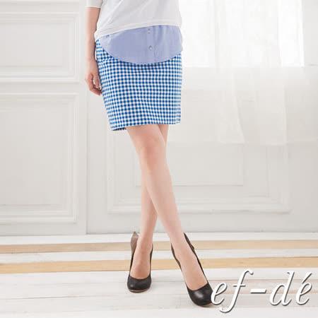 【ef-de】水色夏季微抓摺感鬆緊腰半身裙-S/M (藍)