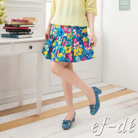 ef-de繽紛一夏朵朵花開半身裙-F (水藍底)