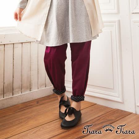 【Tiara Tiara】日系寬版純棉鬆緊腰水玉內裡長褲 (藍綠/紫)