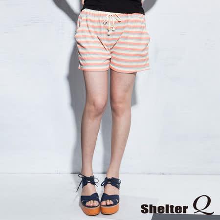 【Shelter Q】休閒甜美鬆緊褲頭綁帶短褲-F (粉橘)