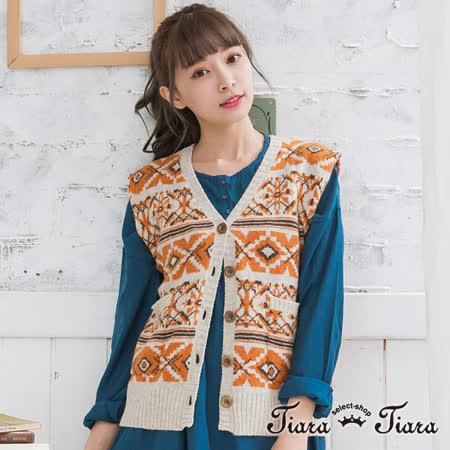【Tiara Tiara】民俗風排釦V領無袖罩衫背心 (橘)