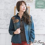 【Tiara Tiara】寬版圓下擺長短版肩繡花牛仔外套 (深藍/藍)