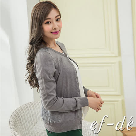 【ef-de】GO獨有 背鏤空蕾絲花珠飾排釦針織罩衫外套(灰)