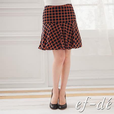 【ef-de】拼接風格紋半身裙-S/M (橘紅)