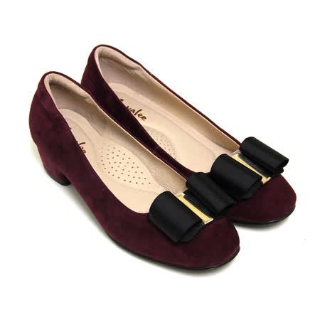 ANNALee 俏麗甜美立體蝴蝶結金屬片牛麂皮低粗跟娃娃鞋