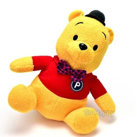 日本進口Disney景品【紳士維尼熊】絨毛玩偶