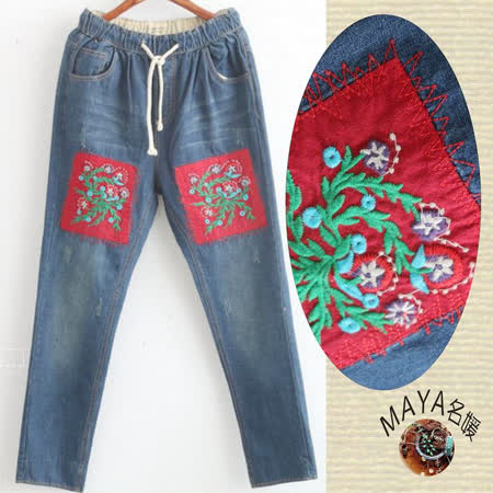 【Maya 名媛】(M~XL) 方塊紅精繡小花拼布款中腰牛仔褲