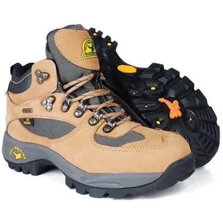【JHS杰恆社戶外鞋登山鞋】1108土黃中筒牛皮徒步鞋旅遊鞋跑步鞋情侶鞋(FW天翔FLYWALKING)