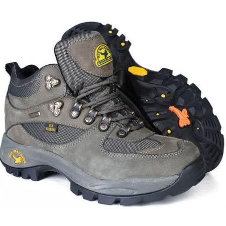 【JHS杰恆社戶外鞋登山鞋】1108深灰中筒牛皮徒步鞋旅遊鞋跑步鞋情侶鞋(FW天翔FLYWALKING)