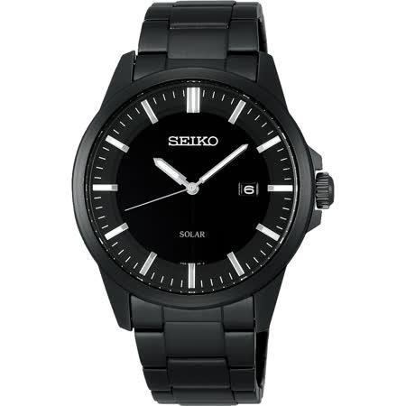 SEIKO SPIRIT 極簡太陽能腕錶-黑/39mm V147-0AV0SD(SBPN093J)