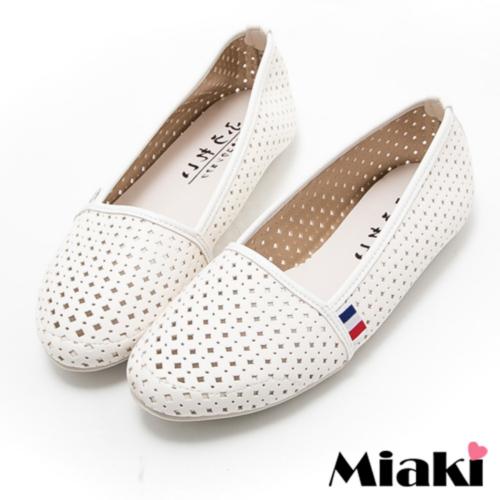 ~Miaki~MIT 休閒鞋韓風透氣平底包鞋娃娃鞋 ^(白色^)