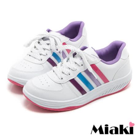 【Miaki】MIT 慢跑鞋時尚健走平底包鞋休閒鞋 (白色)