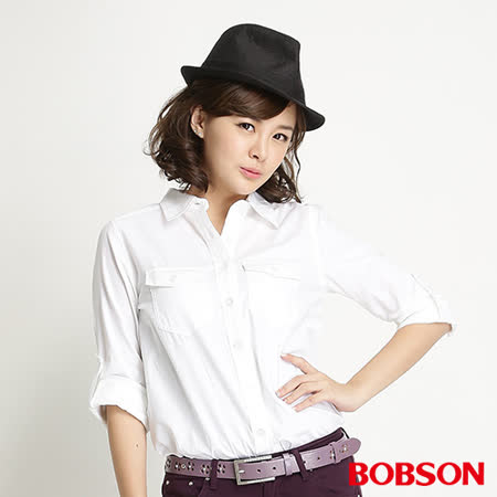 BOBSON  女款素色長袖襯衫(白34131-80)