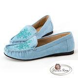 Alice's Rose 雪花水鑽造型樂福鞋-藍色