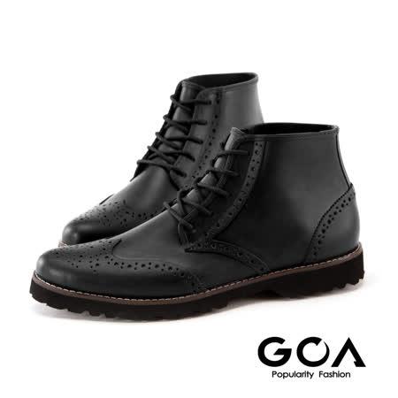GOA紳士品味牛津綁帶雨靴-黑色