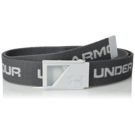 【Under Armour】2015男時尚金屬UA浮雕標石墨色字母款皮帶【預購】