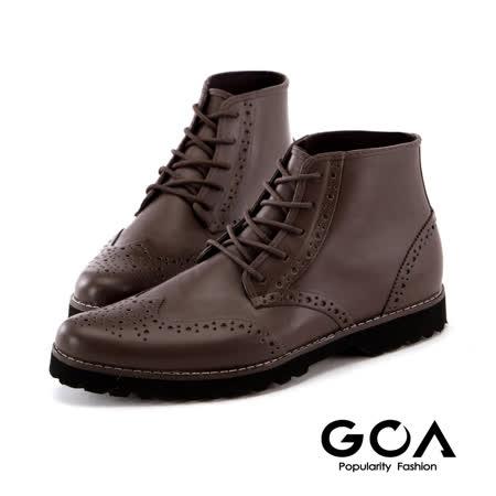 GOA紳士品味牛津綁帶雨靴-咖啡色