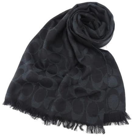 COACH C LOGO 羊毛混絲流蘇圍巾(全黑)