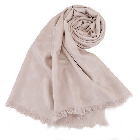 COACH C LOGO 羊毛混絲流蘇圍巾(淺卡其)