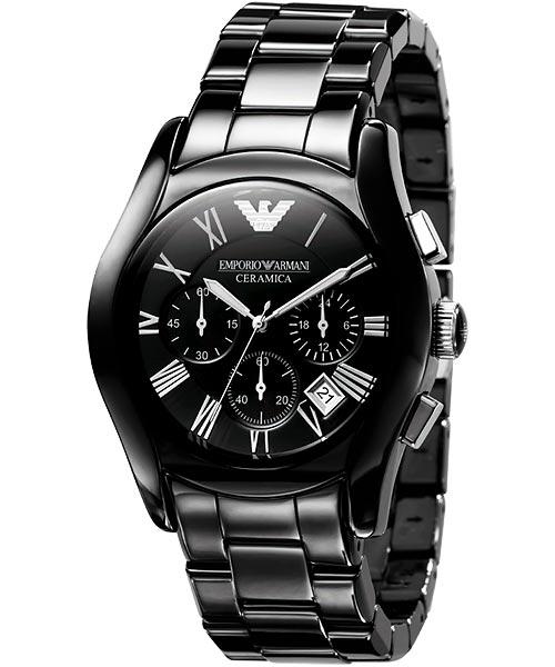 ARMANI 經典陶瓷三眼計時腕錶-黑 AR1400