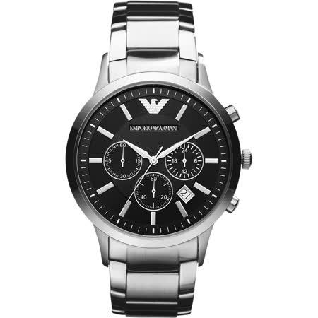 Emporio Armani Classic 王者時尚家三眼計時腕錶-黑x銀/43mm AR2434