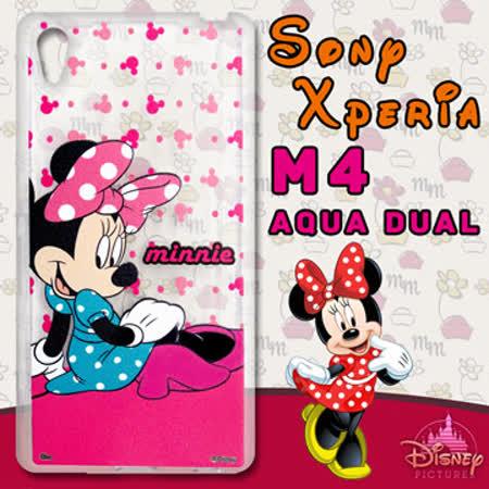 迪士尼授權正版 Sony Xperia M4 Aqua Dual 透明軟式手機殼(優雅米妮)