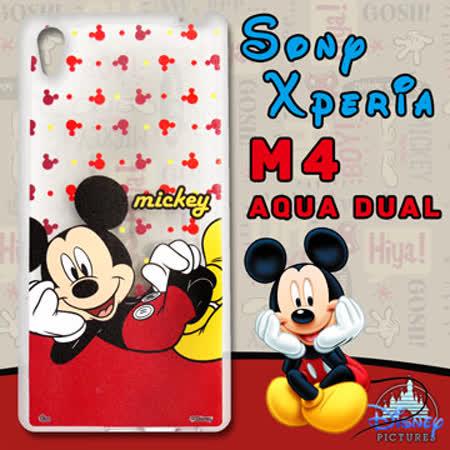 迪士尼授權正版 Sony Xperia M4 Aqua Dual 透明軟式手機殼(悠閒米奇)