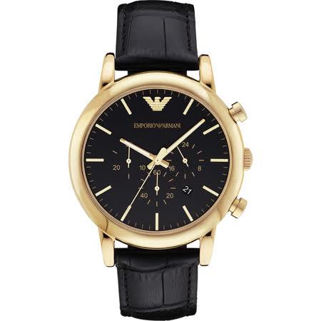 Emporio Armani Classic 雅仕計時腕錶-黑x金框/46mm AR1917