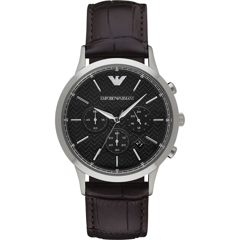 Emporio Armani Classic 都會新貴計時腕錶~黑x咖啡43mm AR24
