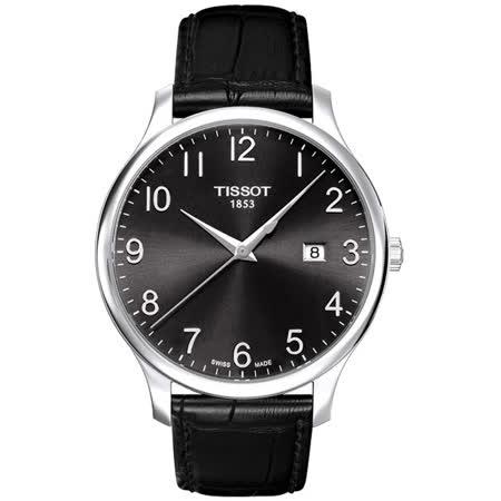 TISSOT Tradition 都會時尚大三針腕錶-黑/42mm T0636101605200