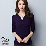 WINCEYS 超彈力磨毛牛奶絲素色V領上衣-紫