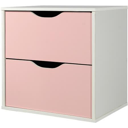 魔術方塊雙層抽屜收納櫃-粉紅(41*28.4*40.6cm)