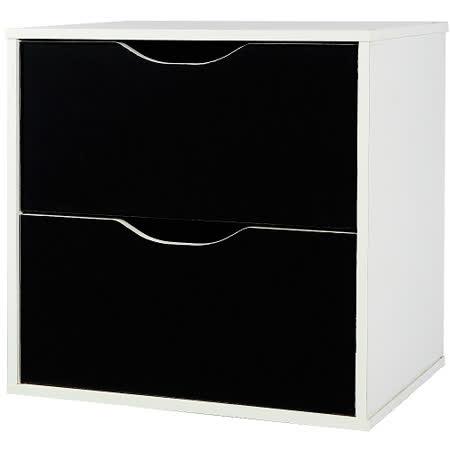 魔術方塊雙層抽屜收納櫃-黑(41*28.4*40.6cm)