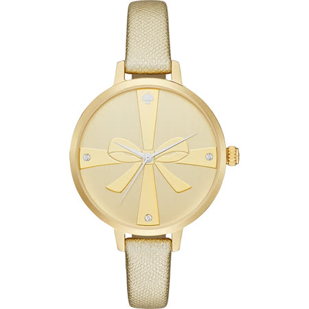 Kate Spade Merto 美好禮物時尚晶鑽腕錶-金/34mm 1YRU0878