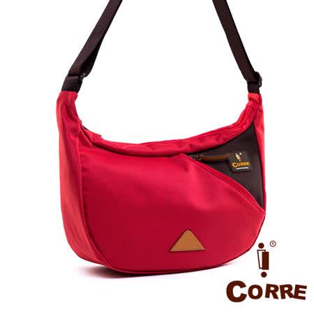CORRE - 自我風格半月式MIT尼龍側背包-搶眼紅