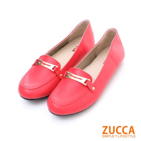 ZUCCA【Z5804RD】金屬環扣片平底紳士鞋-紅色