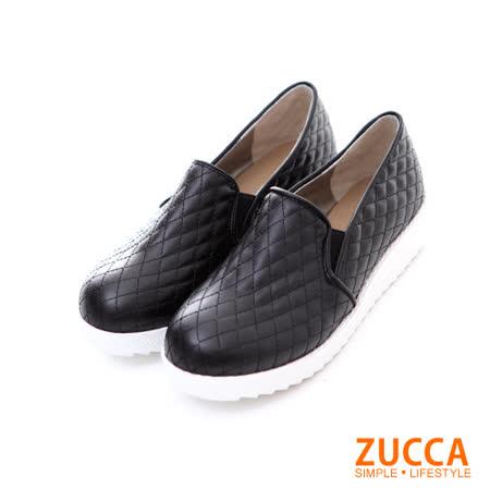 ZUCCA【Z5811BK】菱格紋路編織厚底鞋-黑色