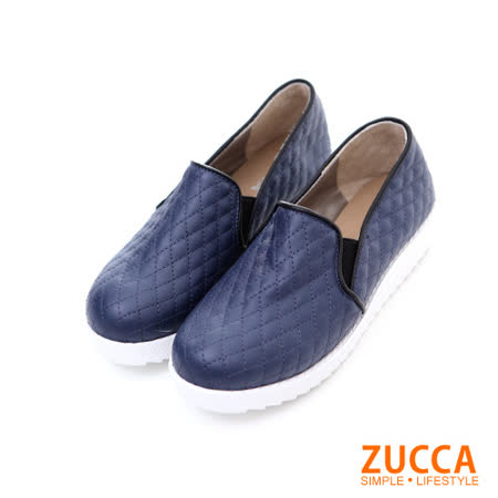 ZUCCA【Z5811BE】菱格紋路編織厚底鞋-藍色