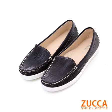 ZUCCA【Z5812BK】亮彩皮革車線編織平底鞋-黑色