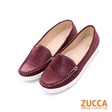 ZUCCA【Z5812RD】亮彩皮革車線編織平底鞋-紅色